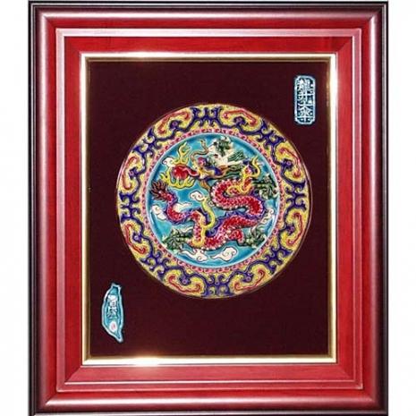鹿港窯-交趾陶開運裝飾壁飾-祥龍戲珠(圓形) 商品特色標題-台灣國寶交趾陶