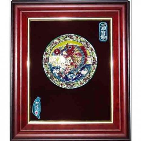 鹿港窯-交趾陶裝飾壁畫-連年有餘(M)