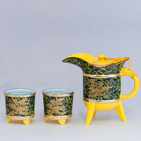 【鹿港窯】茶具組浮雕-富貴金龍金爵杯壺組(瓷器)