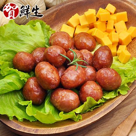 【賀鮮生】一口吃乳酪飛魚卵小香腸12包10顆/包-[1月活動]乳酪飛魚卵12包