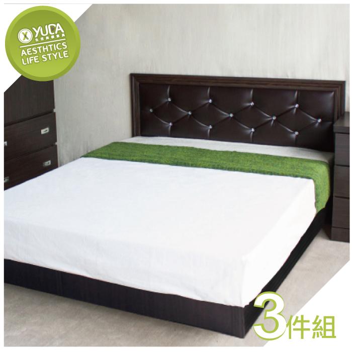 【YUDA】 5尺 雙人 黛曼特(床頭片+床底+床頭櫃) 4色選擇 3件組 床架組/ 床底組/床組-居家日用.傢俱寢具-myfone購物