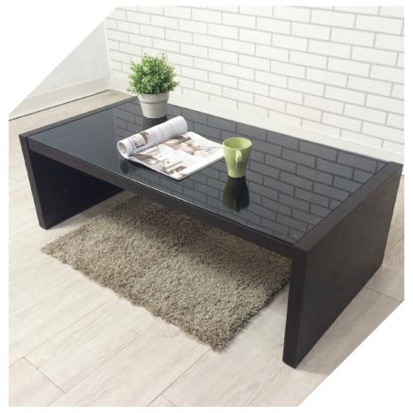 【YUDA】日式『燻黑6mm強化玻璃』木頭 大茶几/咖啡桌/長桌 全省免運費胡桃