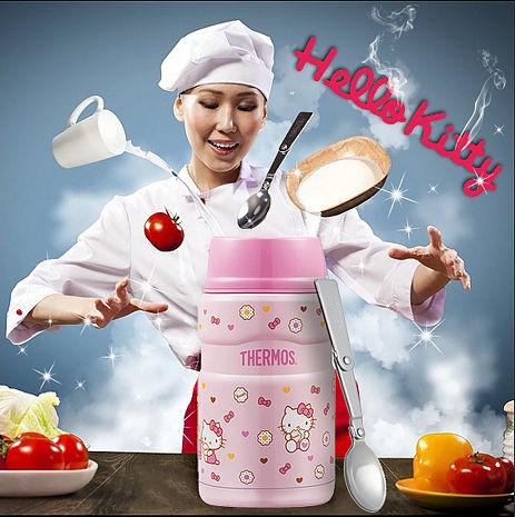 膳魔師 食物罐 SK3021KT-BC Hello Kitty 餅乾篇 不銹鋼真空保溫食物燜燒罐(附湯匙)【特賣】