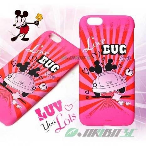 iJacket 迪士尼 iPhone 6/6s 4.7吋 復古霧面硬式保護殼 - 米奇米妮粉紅金龜車