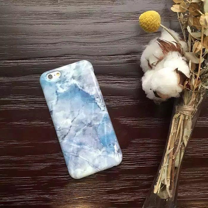 MK馬克 APPLE iPhone6S/6S Plus 天空粉藍大理石 手機保護硬殼