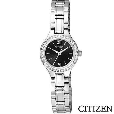 CITIZEN星辰 典藏晶鑽時尚女性腕錶-黑 EJ6090-53E