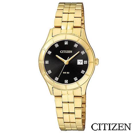 CITIZEN星辰 時尚金錶設計女性石英腕錶-黑 EU6042-57E