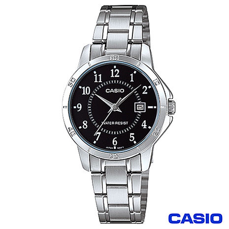 CASIO卡西歐 女仕休閒時尚鋼帶腕錶-黑 LTP-V004D-1B