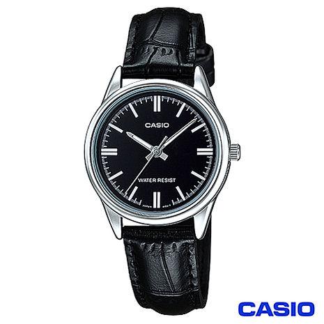 CASIO卡西歐 簡潔風格皮帶女錶-黑 LTP-V005L-1A