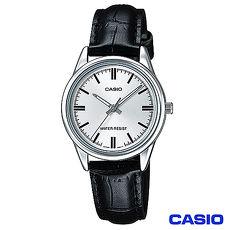 CASIO卡西歐 簡潔風格皮帶女錶~白 LTP~V005L~7A