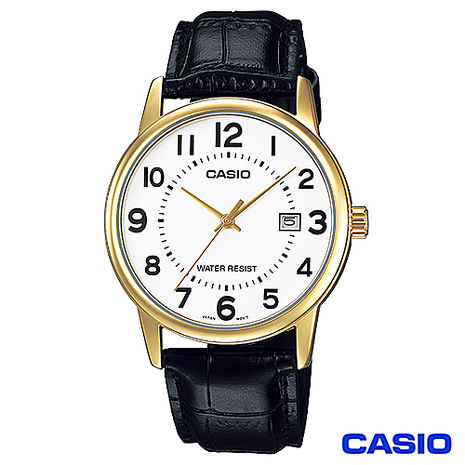 CASIO卡西歐 成熟男仕時尚鋼帶腕錶-金框 MTP-V002GL-7B