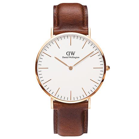 DW Daniel Wellington 咖啡色皮革錶帶-金框/40mm(0106DW)