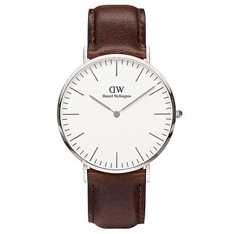 DW Daniel Wellington 深咖啡皮革錶帶-銀框/40mm(0209DW)