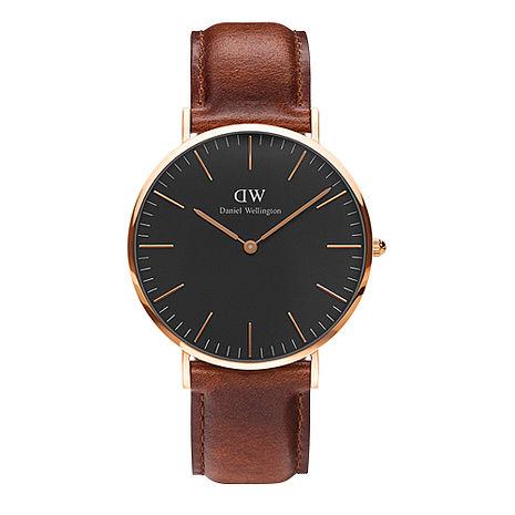 Daniel Wellington 經典深咖啡皮革腕錶-金框/40mm(DW00100125)