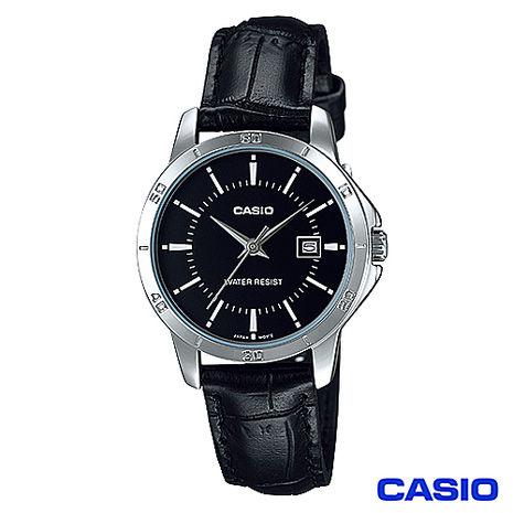 CASIO卡西歐 女仕休閒時尚皮帶腕錶-黑 LTP-V004L-1A