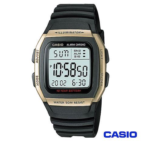 CASIO卡西歐 經典時尚數字運動腕錶-金框 W-96H-9A