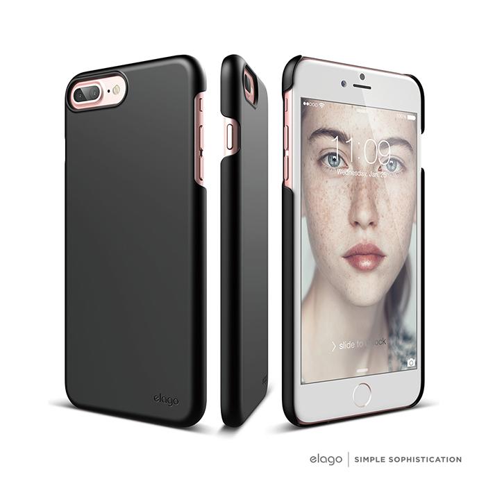 elago iPhone 7 Plus 經典超薄手機保護殼-黑色