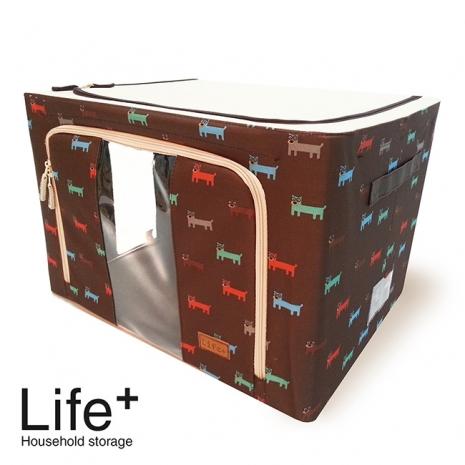 【Life Plus】日系高級鋼骨印花收納箱-55L(咖啡) (APP)