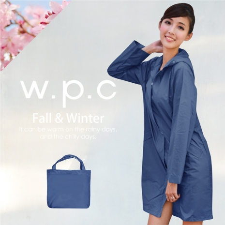 【w.p.c.】日系經典款.時尚雨衣/風衣(R1001)-深藍