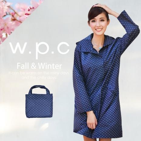 【w.p.c.】日系經典款.時尚雨衣/風衣(R1001)-深藍點點