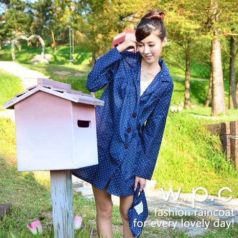【w.p.c.】baby style。時尚雨衣/風衣(R1002) 深藍點點
