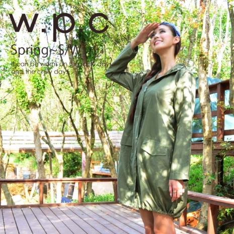 【w.p.c.】束口綁繩款.時尚雨衣/風衣(R1003)_橄欖綠
