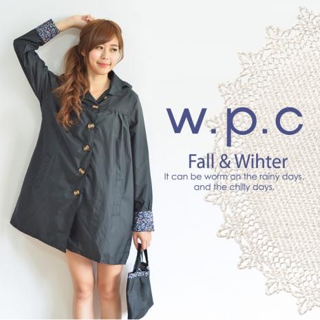 【w.p.c】袖口花樣。時尚雨衣/風衣(R1008) 黑色
