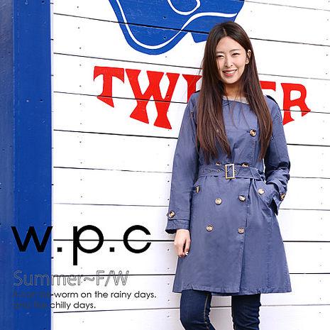 【w.p.c.】雙排釦圓領款。時尚雨衣/風衣(R1019)_深藍素面