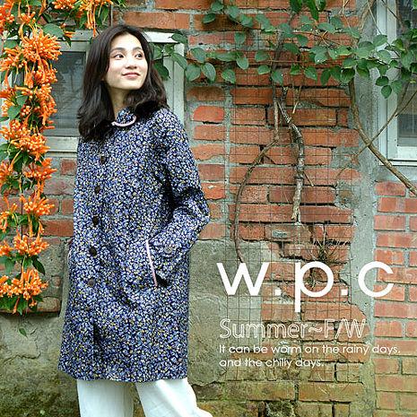 【w.p.c.】碎花滾邊款。時尚雨衣/風衣(R1021)_(深藍碎花)