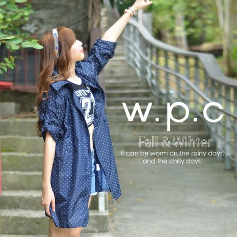 【w.p.c.】2 way袖子可折。時尚雨衣/風衣(R9001) 深藍點點