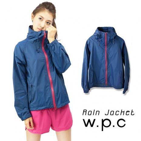 【w.p.c】戶外時尚輕量運動防水風衣外套(深藍桃)