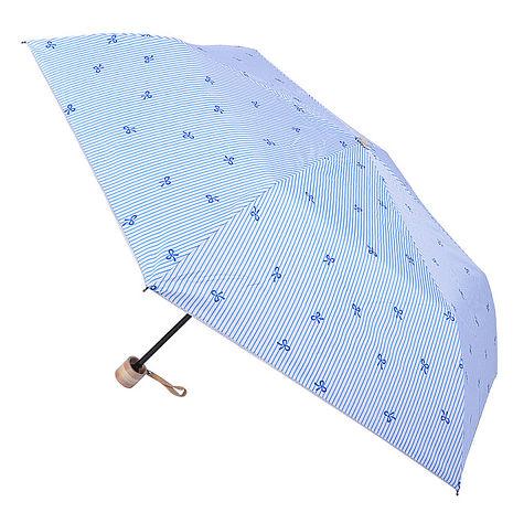 (特賣)【2mm】銀膠抗UV 蝴蝶結條紋輕量手開傘(藍色)