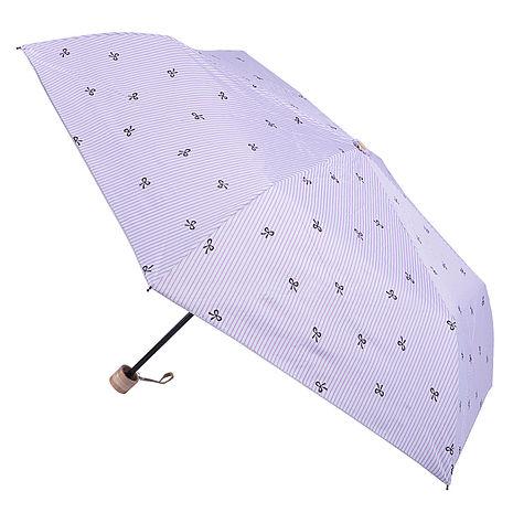 (特賣)【2mm】銀膠抗UV 蝴蝶結條紋輕量手開傘(紫色)