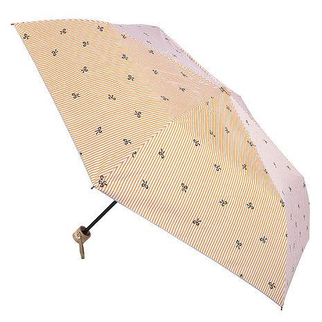 (特賣)【2mm】銀膠抗UV 蝴蝶結條紋輕量手開傘(橘色)