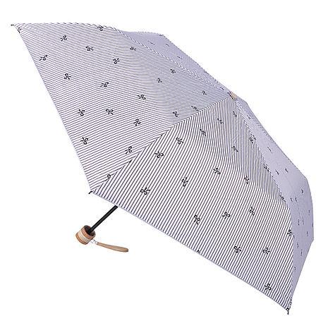 (特賣)【2mm】銀膠抗UV 蝴蝶結條紋輕量手開傘(咖啡色)