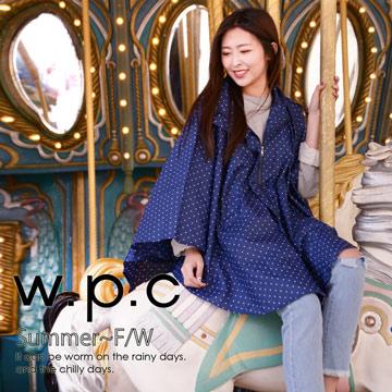 【w.p.c】垂墜斗篷款。時尚雨衣/風衣(R1004)_深藍點點