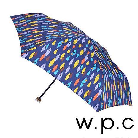 【w.p.c】煥彩魚點*晴雨兩用輕量防風手開三摺傘 (深藍)