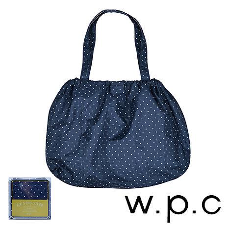 【w.p.c】時尚包包雨衣/束口防雨袋 (深藍點點)