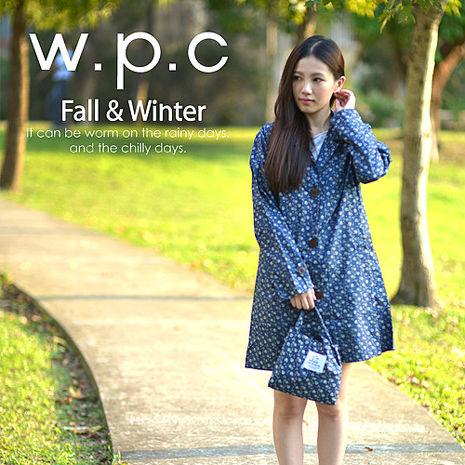 【w.p.c.】雛菊釦子款。時尚雨衣/風衣(R1041)_深藍