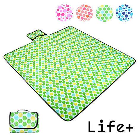 【Life Plus】圓點普普風。折疊野餐墊/遊戲墊/地墊 (粉綠)