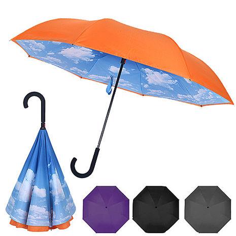 (APP)【2mm】盛夏雲朵雙層防風反向直傘/反折傘(4色任選)