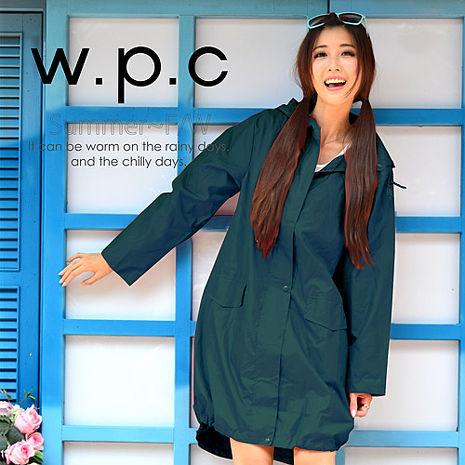 【w.p.c.】束口綁繩款.時尚雨衣/風衣(R1003)_藍綠
