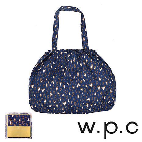 【w.p.c】時尚包包雨衣/束口防雨袋( 深藍豹紋)
