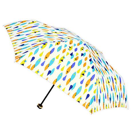 【2mm】繽紛魚點 晴雨兩用輕量手開傘 (白色)
