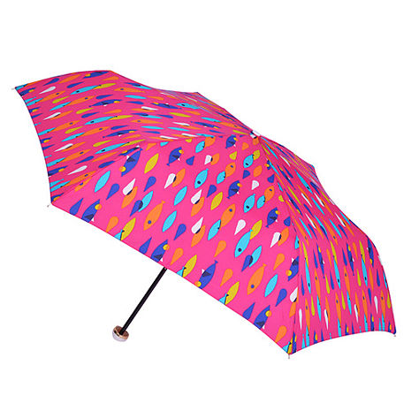 【2mm】繽紛魚點 晴雨兩用輕量手開傘 (桃色)