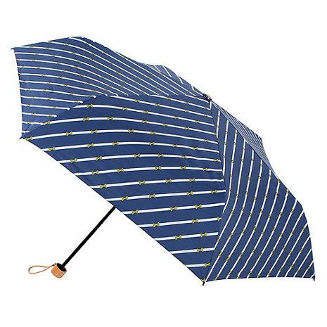 【2mm】100遮光 斜紋蝴蝶結黑膠輕量手開傘(深藍)