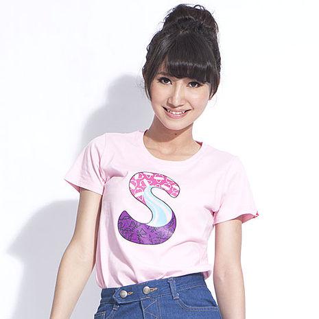 【SHAPA】純棉短袖圖TEE彩色塗鴉S 女 粉紅S