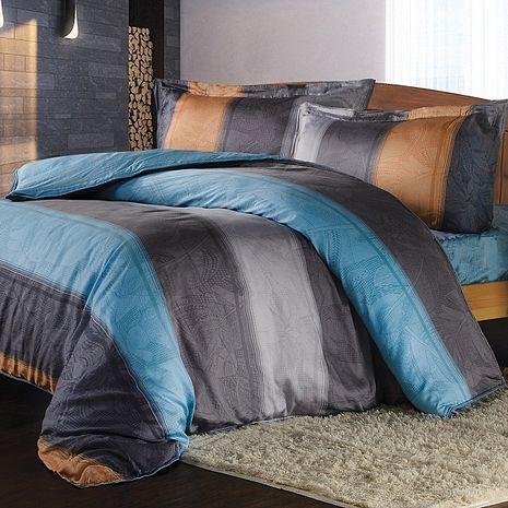 【夢工場】藍色探戈天絲兩用被床包組-雙人