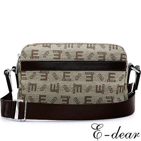 E-DEAR 依迪爾配皮LOGO帆布斜背包 百搭米