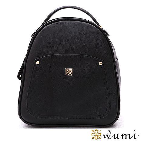 WuMi 無米 美洛蒂十字紋手提後背包 俐落黑